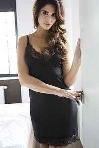 Комбинация под платье с кружевом Julimex Sugar Черный