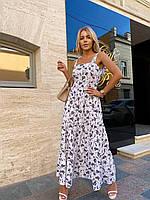 Жіноче ярусну плаття-максі на бретелях, фото 1