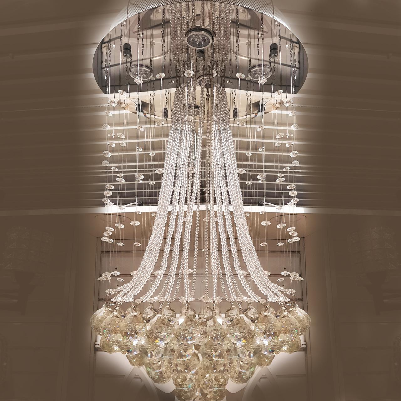 Люстра декоративная хрустальная каскад на 6 лампочек 3161-6