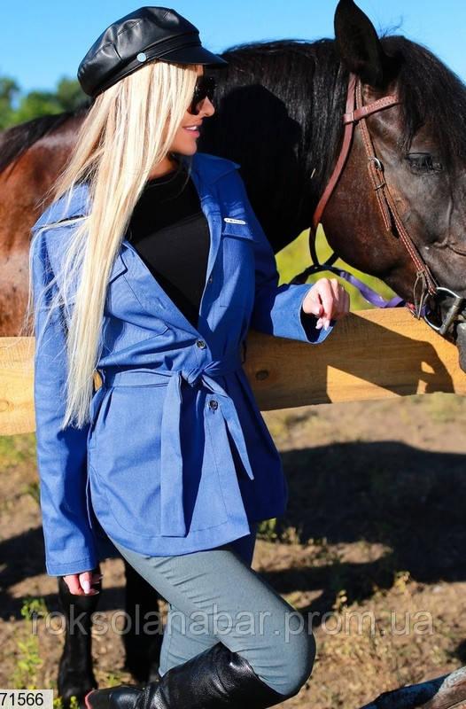 Куртка женская молодежная в синем цвете из джинса бенгалин