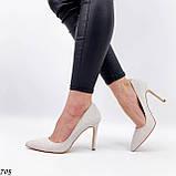 Женские туфли лодочки белые из натуральной кожи, фото 5