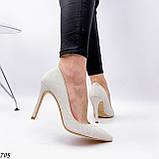 Женские туфли лодочки белые из натуральной кожи, фото 6