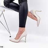 Женские туфли лодочки белые из натуральной кожи, фото 7