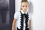 Блузка з чорним мереживом ТМ Моне колір білий р. 152, 158, фото 2
