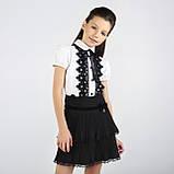 Блузка з чорним мереживом ТМ Моне колір білий р. 152, 158, фото 4