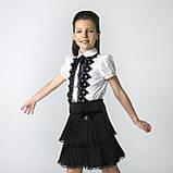 Блузка з чорним мереживом ТМ Моне колір білий р. 152, 158, фото 7