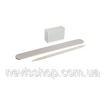 Набір для нігтів одноразовий Kodi Professional пилка 120/120, баф, апельсинова паличка, білий