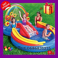 Детский надувной бассейн игровой центр с горкой Радуга бассейн для детей INTEX