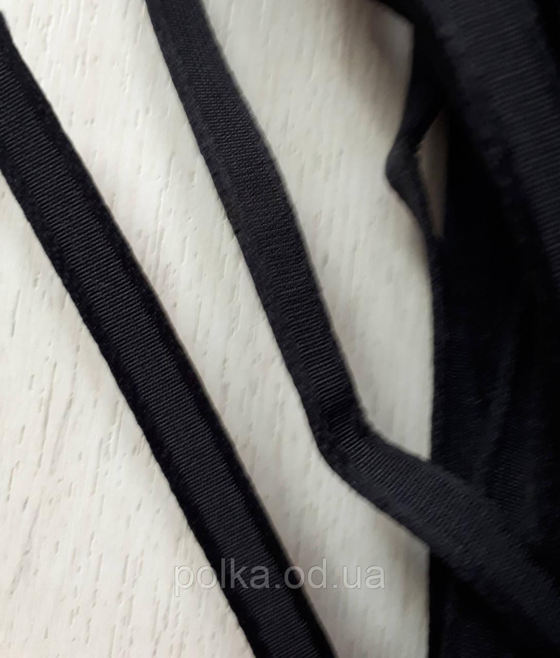 Тунельна стрічка чорна плоска, ширина 1см, колір чорний (Туреччина)