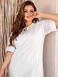 Свободное платье из прошвы с коротким рукавом, фото 4