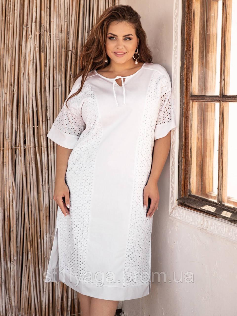 Свободное платье из прошвы с коротким рукавом