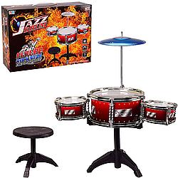 Барабанная установка детская со стульчиком Jazz Drum Красная