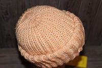 Вязаная зимняя объемная женская шапка  с двумя отворотами oversize