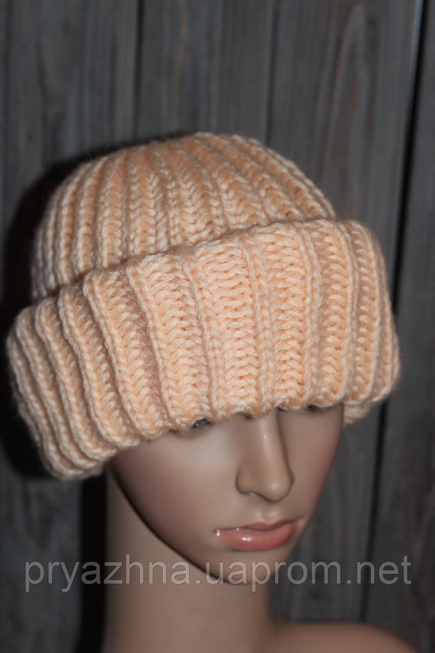 41a239e312b7 Вязаная зимняя объемная женская шапка с двумя отворотами oversize