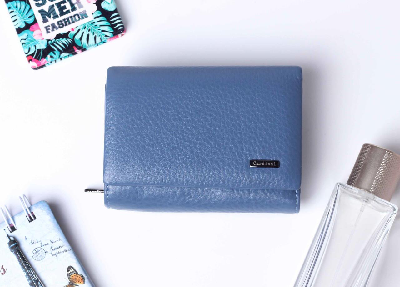 Шкіряний маленький жіночий блакитний гаманець портмоне потрійного складання Cardinal, гаманець з натуральної шкіри