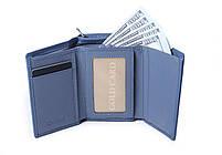 Шкіряний маленький жіночий блакитний гаманець портмоне потрійного складання Cardinal, гаманець з натуральної шкіри, фото 5