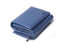 Шкіряний маленький жіночий блакитний гаманець портмоне потрійного складання Cardinal, гаманець з натуральної шкіри, фото 3