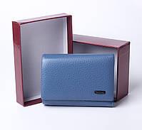 Шкіряний маленький жіночий блакитний гаманець портмоне потрійного складання Cardinal, гаманець з натуральної шкіри, фото 2