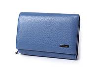 Шкіряний маленький жіночий блакитний гаманець портмоне потрійного складання Cardinal, гаманець з натуральної шкіри, фото 4