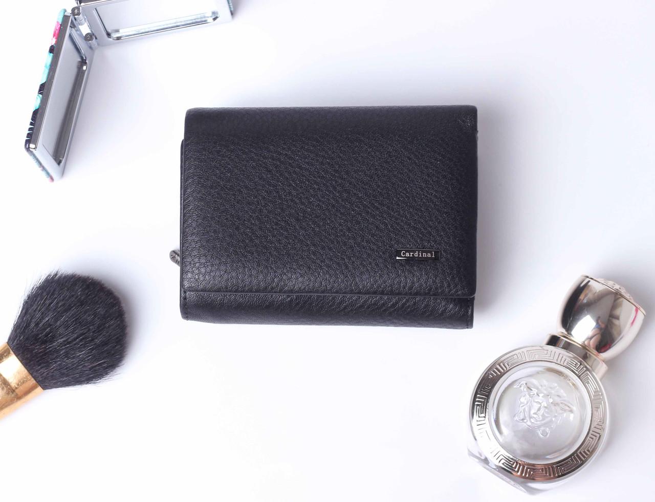 Кожаный маленький женский черный кошелек портмоне тройного сложения Cardinal, кошелек из натуральной кожи