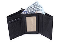 Кожаный маленький женский черный кошелек портмоне тройного сложения Cardinal, кошелек из натуральной кожи, фото 5