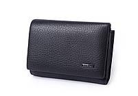 Кожаный маленький женский черный кошелек портмоне тройного сложения Cardinal, кошелек из натуральной кожи, фото 3