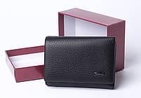 Кожаный маленький женский черный кошелек портмоне тройного сложения Cardinal, кошелек из натуральной кожи, фото 2