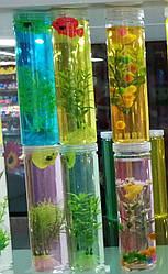 Лизун SL2098 (72шт)рыбка с растениями, цвета микс, в колбе 5*19см, 6шт в дисплей боксе|цена за шт|