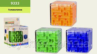 Головоломка 3D-лабіринт 9333 (1586220) (144шт 2) куб, 3 кольори мікс, в кор.8.7*8.7*12.5 см, р-р игруш