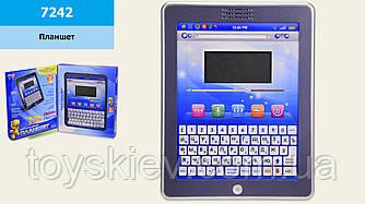 Планшет  7242 (48шт 2)батар.,32 функции,2 языка РУС АНГЛ,буквы, цифры, музыка,экран 8*4см, в кор.22*