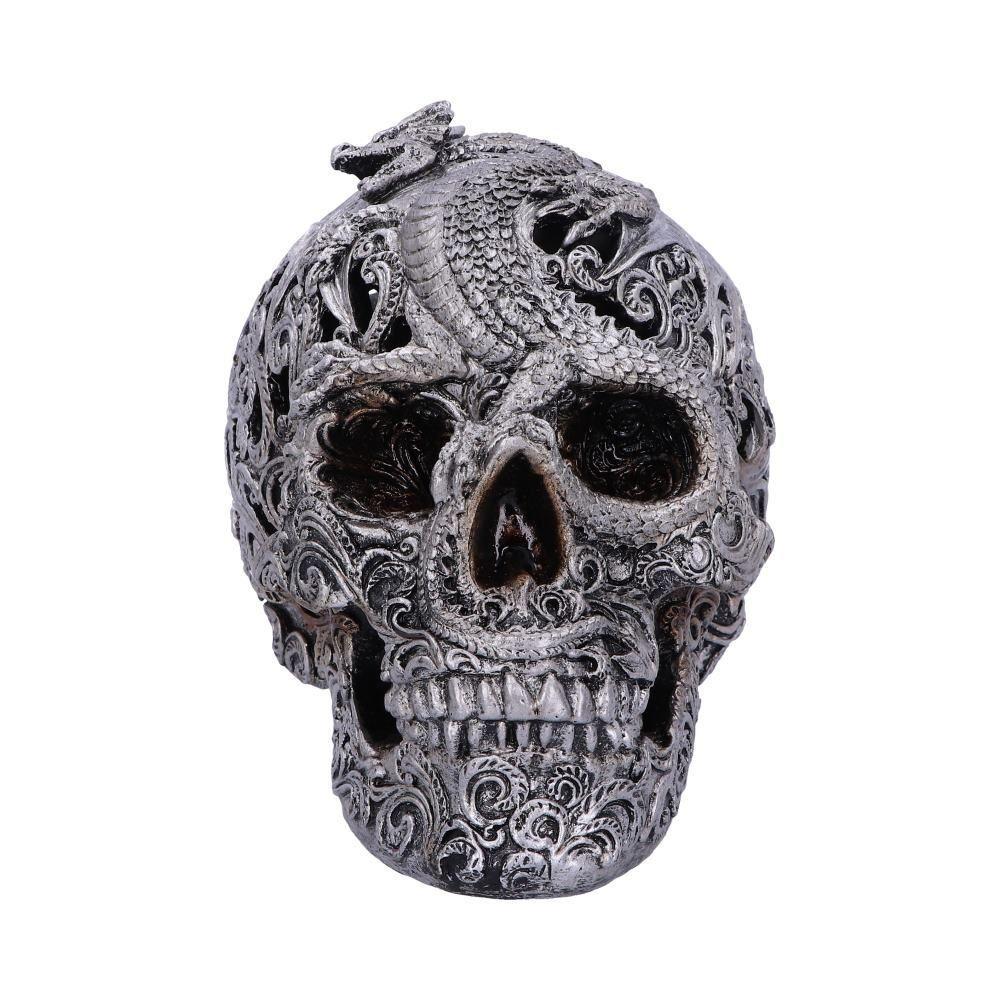Череп Різьблений з Драконом-Cranial Drakos (Nemesis Now) сірий