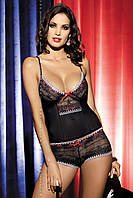 Изысканный кружевной комплект Obsessive Showgirl top&shorties