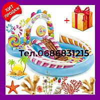 Детский надувной бассейн аттракцион с горкой INTEX Карамель, игровой центр для детей