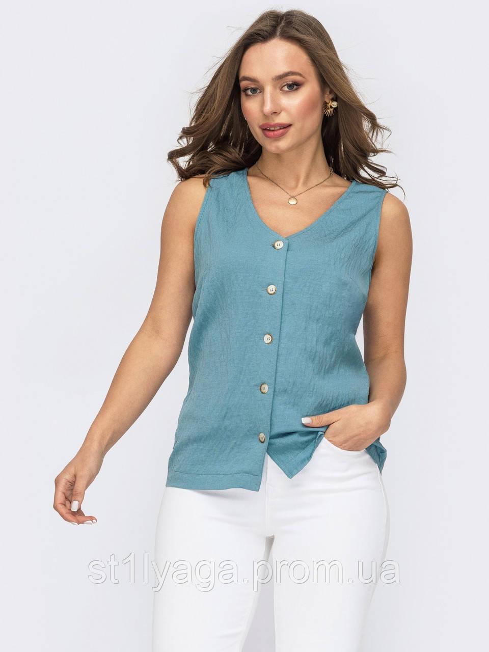 Блузка без рукавів на застібці гудзики ЛІТО