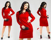 Платье Танита с кожаными вставками красное