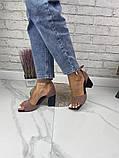 Женские босоножки на каблуке с квадратным носком из натуральной кожи черные белые капучино красные, фото 3