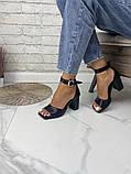 Женские босоножки на каблуке с квадратным носком из натуральной кожи черные белые капучино красные, фото 6