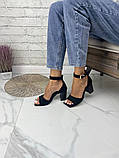 Женские босоножки на каблуке с квадратным носком из натуральной кожи черные белые капучино красные, фото 4