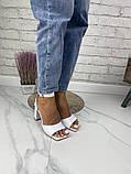 Женские босоножки на каблуке с квадратным носком из натуральной кожи черные белые капучино красные, фото 2