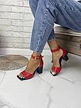 Женские босоножки на каблуке с квадратным носком из натуральной кожи черные белые капучино красные, фото 8