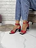 Женские босоножки на каблуке с квадратным носком из натуральной кожи черные белые капучино красные, фото 7