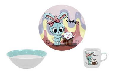 Детский набор столовой посуды Limited Edition Sweet Bunny из 3 предметов (C523)