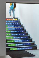 Интерьерная виниловая наклейка с ламинацией Таблица умножения на ступени лестницы в школу или детский сад