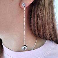 Серебряные серьги-вкрутки родированные с цепочкой и шарами Долли 2, фото 1