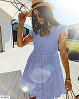 Літній короткий гарна сукня з натуральної тканини прошва з розкльошеною спідницею батал 50-56 арт. с41459.1