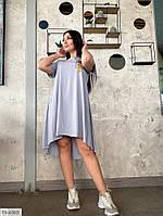 Платье женское летнее легкое по колено свободное удлиненное сзади больших размеров 50-56 арт. р15347