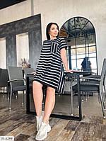 Платье женское летнее в полоску свободного кроя короткий рукав большие размеры батал 50-56 арт. р1583