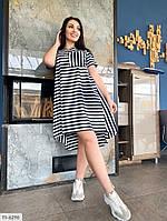 Платье женское летнее в полоску по колено свободное удлиненное сзади большие размеры 50-56 арт. р1597