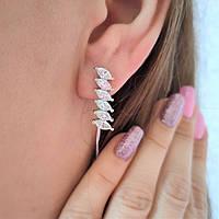 Срібні сережки родированные з цирконами Стэлла, фото 1