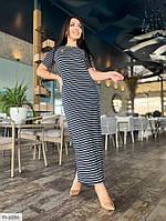 Пряме довге плаття в підлогу в смужку легке повсякденне трикотажне великі розміри 46-58 арт. р15195